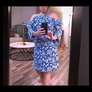 Michael Kors Floral Blue and White Dress Size XS
